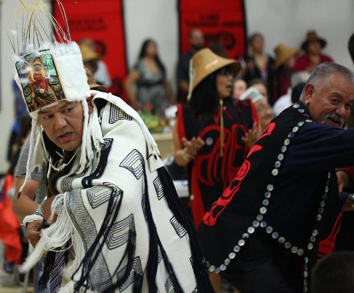Chief of the Stalaang Laanas Clan of Yan, Allan Davidson Jr., dancing the robe.