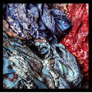 Indonesian Batik technique printed silk scarves, created by Agus Ismono.
