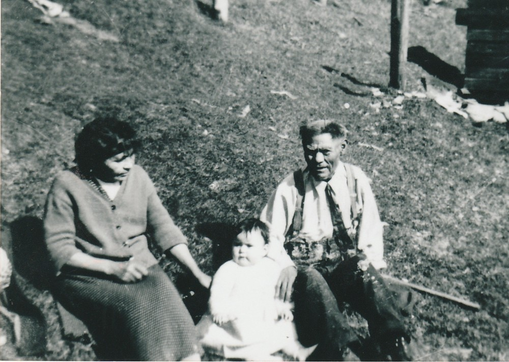 My maternal great great grandparents (nonnie and tsinni): Martha Marks and Thomas Simeon of Kuista, with great grand daughter Joanne Simeon, Masset, BC.