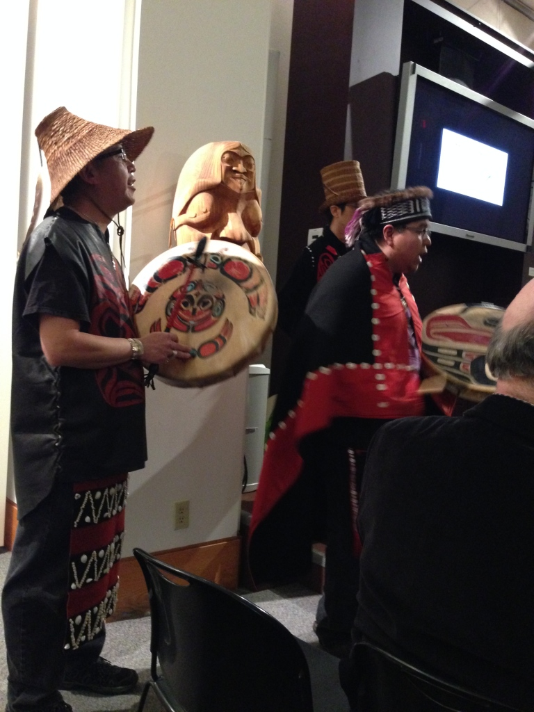 Haida singers Clarence Abrams, Donny Edenshaw, and in the background Noel Abrams. I'm so grateful for these men who came to sing and share their knowledge and voices. Hawa'a I am indebted and grateful.