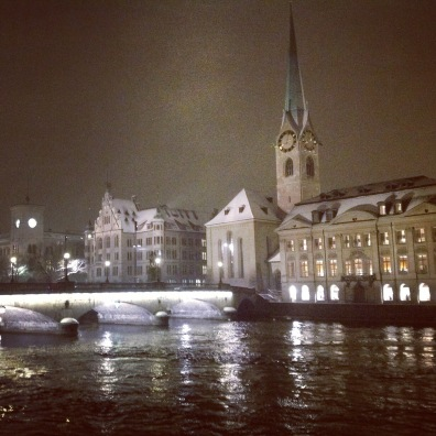 Oh the glamour of Zurich at night in winter.