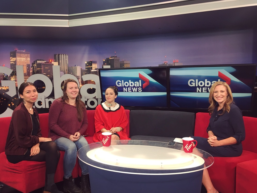 Sage Paul, Becca Taylor, and myself with the host of Global News Edmonton