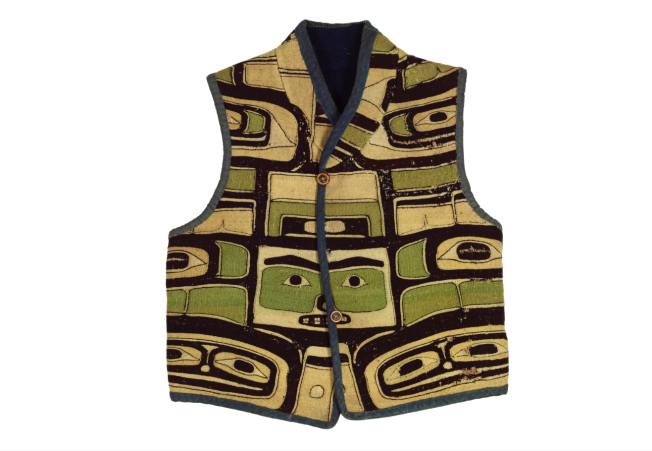 Vest made from a ceremonial mantle, Northwest coast of North America, Chilkat. Cedar bark, mountain goat hair, 54 x 48 cm. The Textile Museum 1963.53.1. Gift of Alan R. Sawyer. Photo by Renee Comet