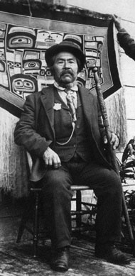 "Chief Son-I-Hat (Kóyongxung) of the Yáadaas clan (Eagle moiety), was born in 1829, and was considered one of the wealthiest of the Haida chiefs. Although Son-I-Hat is a Tlingit name meaning ""well respected,"" both the Chief and his wife were of Haida descent. The Son-I-Hat family lived in New Kasaan."